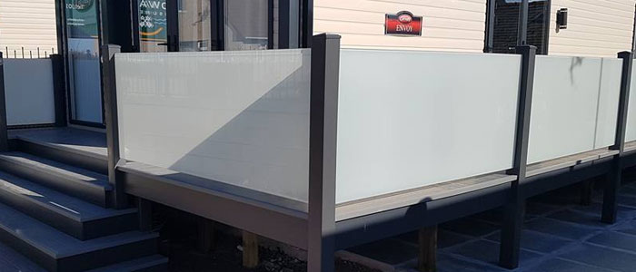 Anthracite UPVC Frosted Glass Balustrade